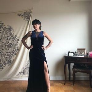Navy Blue Velvet Evening Gown